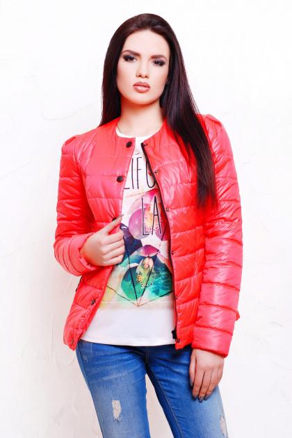 короткая женская куртка на осень цвета пудра. куртка Квин. Цвет: коралл