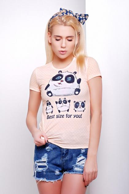 персиковая футболка с пандой. Size panda Футболка-1В. Цвет: принт