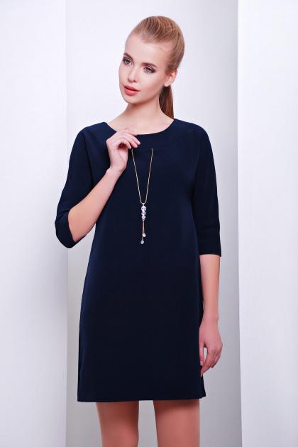 темно-синее платье прямого кроя. платье Элика д/р. Цвет: серо-синий