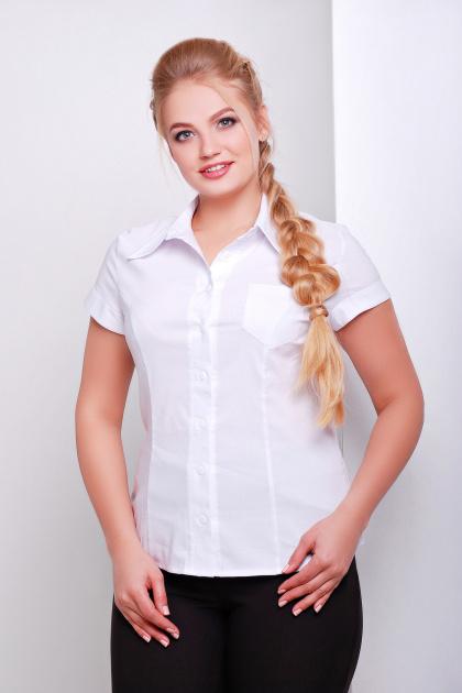 белая блузка большого размера. Блуза Марта-Б к/р. Цвет: белый