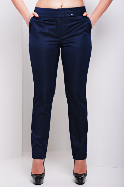 брюки цвета электрик для полных. брюки Хилори-Б. Цвет: темно синий