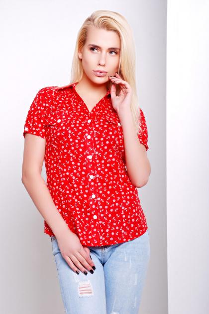 голубая блуза из хлопка с морским принтом и коротким рукавом. блуза Якира к/р. Цвет: красный-якорь
