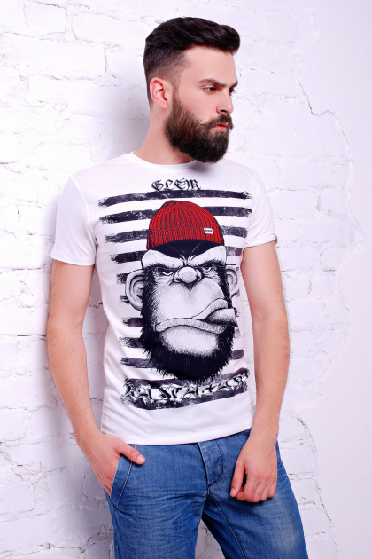 классная мужская футболка с рисунком. Обезьяна в шапке Футболка Men-2В. Цвет: принт