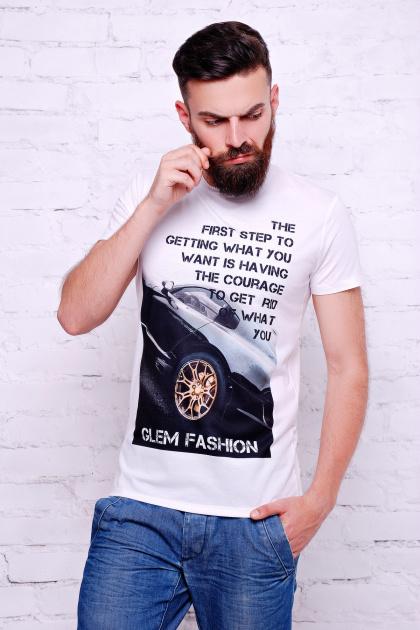 стильная мужская футболка с надписью. Машина Футболка Men-2В. Цвет: принт