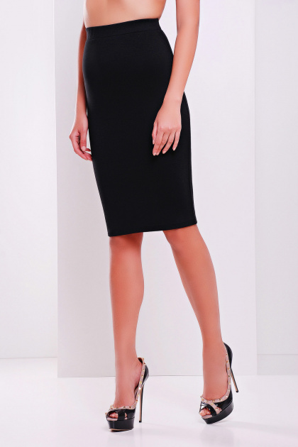 темно-синяя офисная юбка-карандаш. юбка мод. №20. Цвет: черный