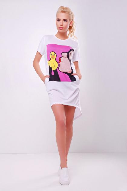 длинная женская футболка с принтом. Уточка футболка Фрак-2. Цвет: принт