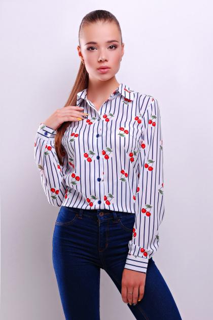 белая блузка из шифона с коротким рукавом. Полоска темно синяя блуза Чери д/р. Цвет: принт
