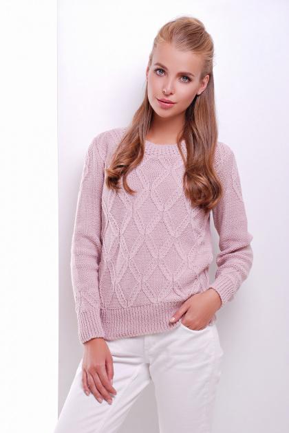 стильный женский вязаный свитер темно-синий. Свитер 17. Цвет: пудра