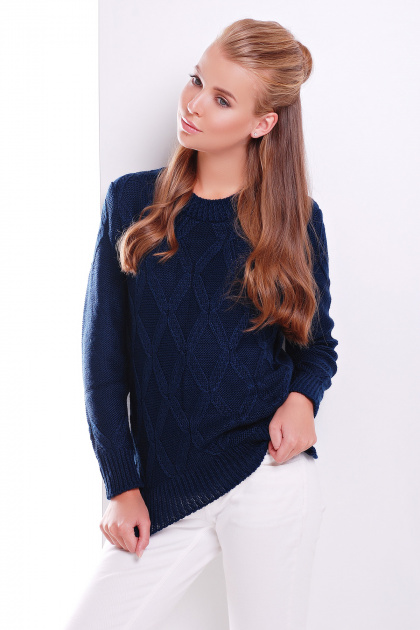 стильный женский вязаный свитер темно-синий. Свитер 17. Цвет: темно-синий