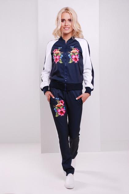 темно-синяя кофта на змейке с цветочным принтом. Китайская роза кофта Юниор 3ДН д/р. Цвет: принт-т.синяя отделка