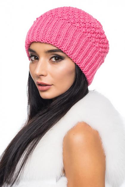 Вязаная розовая шапка с внутренним отворотом. Шапка 1057. Цвет: розовый