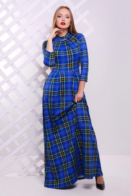 Длинное платье в пол цвета электрик в клетку. платье Шарлота д/р. Цвет: электрик-зеленая клетка