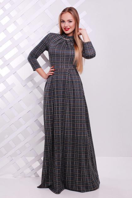 Длинное платье в пол цвета электрик в клетку. платье Шарлота д/р. Цвет: серый-черная клетка
