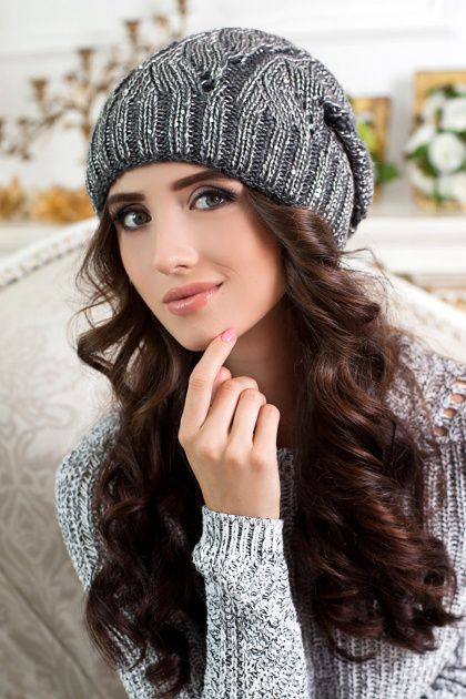 синяя шапка с блестками. Шапка 4305. Цвет: темно-серый