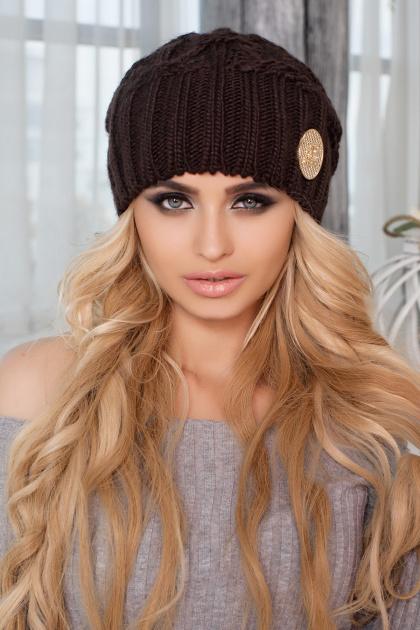 коричневая шапка крупной вязки. Шапка 4418. Цвет: коричневый