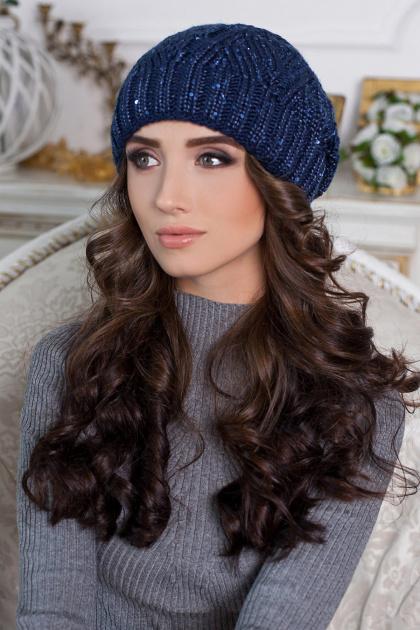 синяя шапка с блестками. Шапка 4305. Цвет: джинсовый