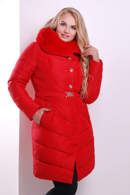 Элегантная женская куртка красного цвета с поясом. Куртка 168. Цвет: красный
