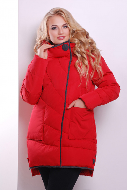 Красная женская куртка с серой отделкой. Куртка 360. Цвет: красный