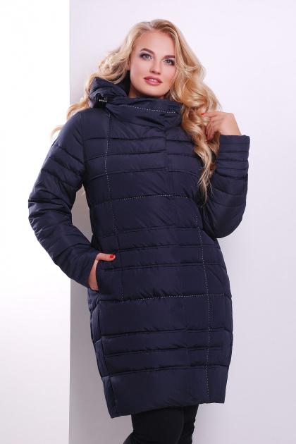 Стильная женская куртка песочного цвета. Куртка 367. Цвет: темно синий