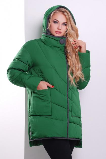 Красная женская куртка с серой отделкой. Куртка 360. Цвет: зеленый