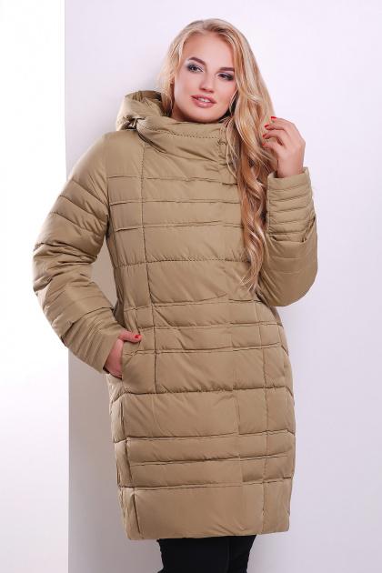 Стильная женская куртка песочного цвета. Куртка 367. Цвет: песочный