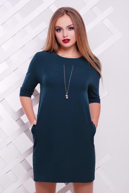 темно-синее платье прямого кроя. платье Элика д/р. Цвет: изумрудный