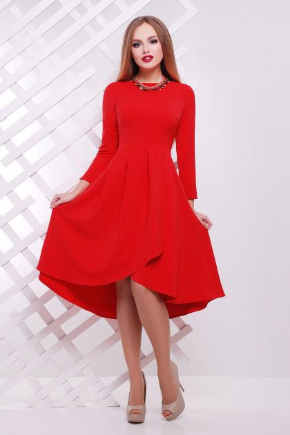 Женское платье красного цвета с ассиметричным низом. платье Лика д/р. Цвет: красный