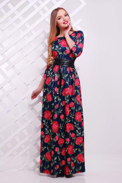 Серое платье макси, украшенное лапкой и розами. платье Шарли д/р. Цвет: т.синий-роза Б