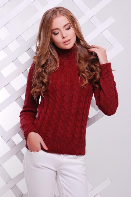 черный свитер с косами. Свитер 134. Цвет: бордовый