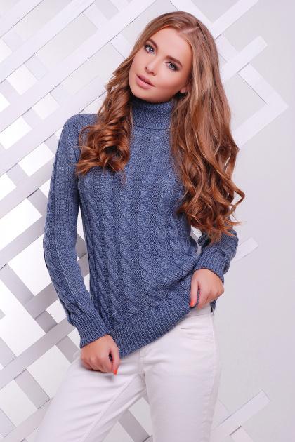 черный свитер с косами. Свитер 134. Цвет: светлый-джинс