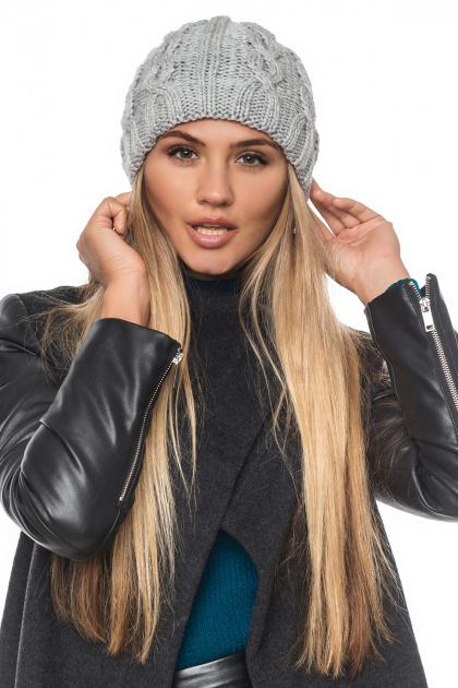 шапка серого цвета с косами. Шапка 2042. Цвет: серый