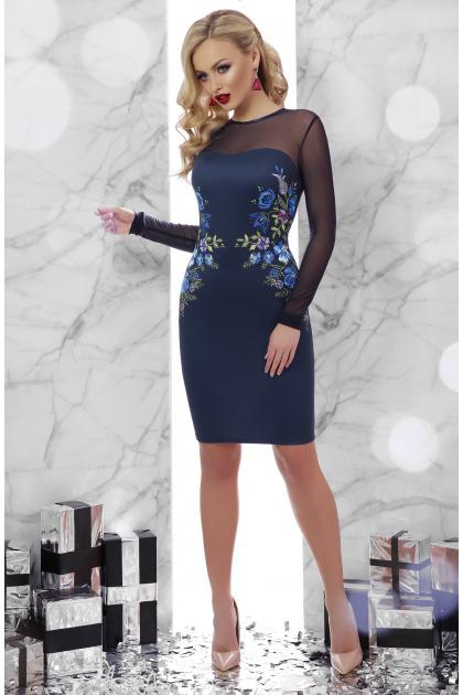 Платье синего цвета с верхом и рукавами из сетки. Вышивка платье Донна2 д/р. Цвет: синий