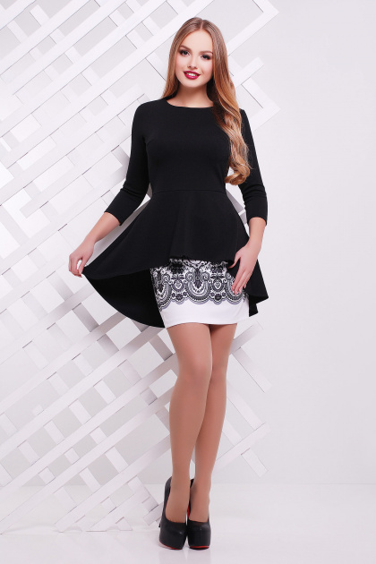 Нарядный женский юбочный костюм с баской. Узор черный Костюм Элизабет. Цвет: черный-белый
