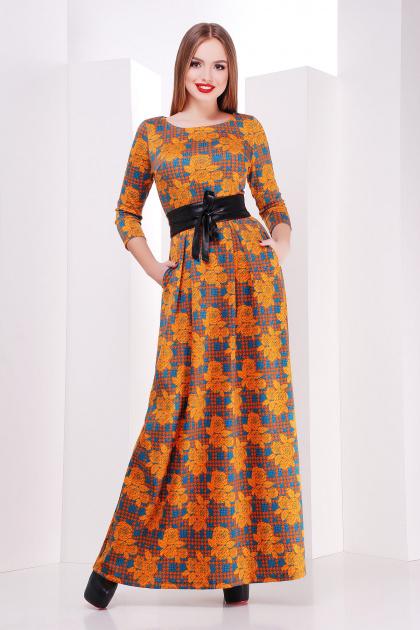 Длинное платье оранжевого цвета с розами и лапкой. платье Шарли д/р. Цвет: оранжевый-лапка-роза