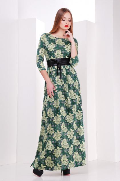 Серое платье макси, украшенное лапкой и розами. платье Шарли д/р. Цвет: зеленый-лапка-роза
