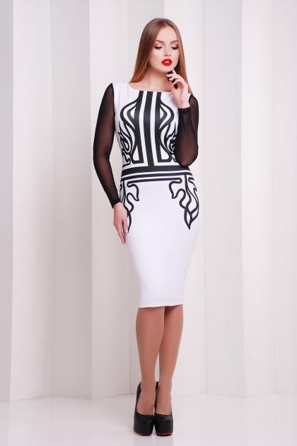 Платье по фигуре с принтом и сетчатыми рукавами. Греция платье Лоя-2КС д/р. Цвет: принт
