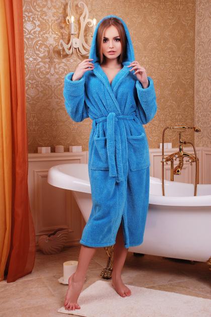 Длинный персиковый халат из махры. Халат женский 01 (длинный). Цвет: синий