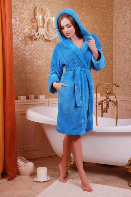 Махровый женский халат синего цвета. Халат женский 02 (короткий). Цвет: синий