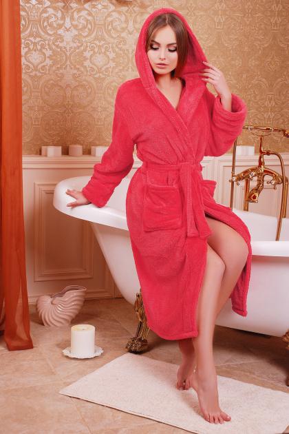 Длинный персиковый халат из махры. Халат женский 01 (длинный). Цвет: коралл