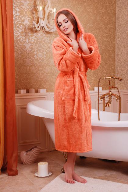 Длинный персиковый халат из махры. Халат женский 01 (длинный). Цвет: персик