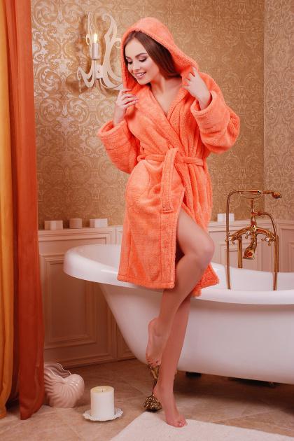 Махровый женский халат синего цвета. Халат женский 02 (короткий). Цвет: персик