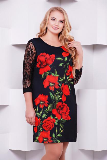 Праздничное платье батал с ярким цветочным принтом. Алые розы платье Гардена-2Б д/р. Цвет: принт