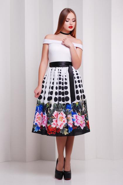 Платье с облегающим верхом и свободной юбкой ниже колен. Пион-горох платье Эмми б/р. Цвет: принт