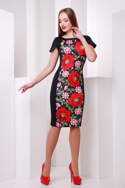 Черное облегающее платье с принтом на полочке. Маки платье Питрэса к/р. Цвет: черный