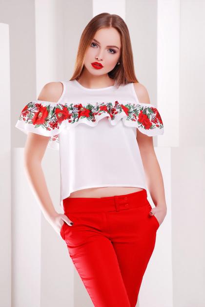 Белая блузка с воланом и ярким принтом. Маки-калина блуза Марелина б/р. Цвет: белый