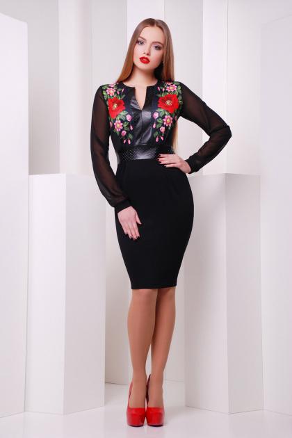 Черное платье с рукавами из шифона и принтом с маками. Маки платье Лусена д/р. Цвет: принт-кожа отделка