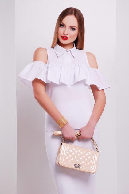 персиковая блузка с воланом. блуза Калелья б/р. Цвет: белый