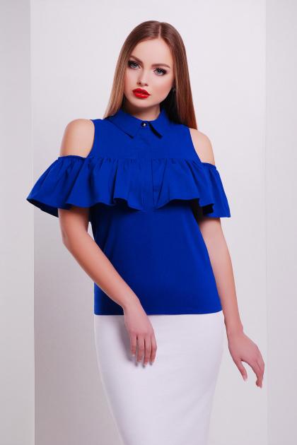 персиковая блузка с воланом. блуза Калелья б/р. Цвет: электрик