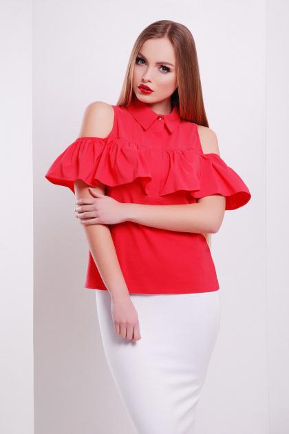 персиковая блузка с воланом. блуза Калелья б/р. Цвет: коралл