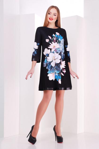 черное платье А-силуэта с цветочным принтом. Магнолии платье Тая-3ФК д/р. Цвет: принт-кожа отделка